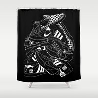 sneakers Shower Curtains featuring Sneakers Illustrations (Black) by SoulWon Cheung