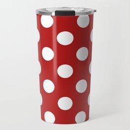 Carnelian - red - White Polka Dots - Pois Pattern Travel Mug