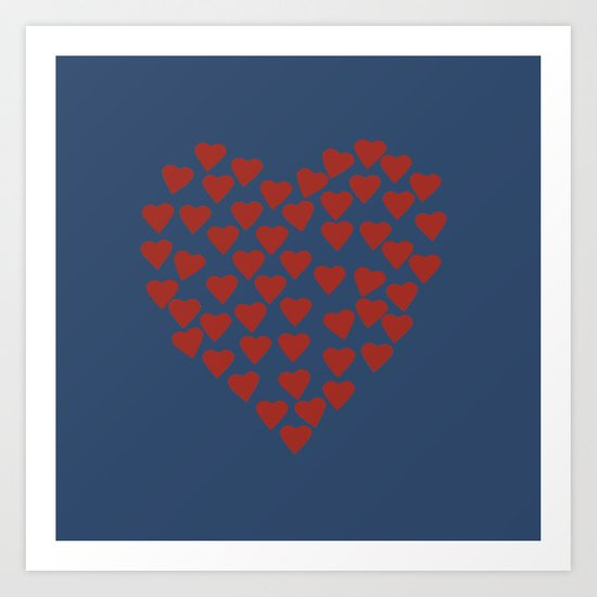 Hearts Heart Red on Navy Art Print