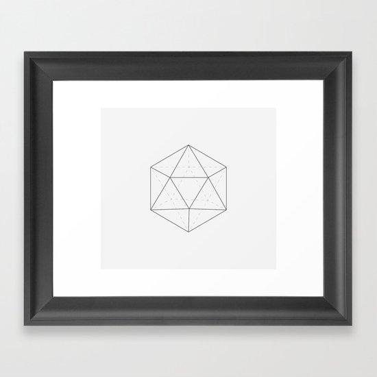 Black & white Icosahedron Framed Art Print