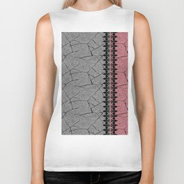 Gray, red background with a decorative vertical stripe. Biker Tank
