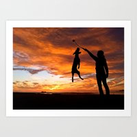 workout Art Prints featuring Sunset Workout by Sandy Broenimann