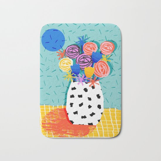 Legit - throwback abstract floral still life memphis retro 80s style vase with flowers Bath Mat