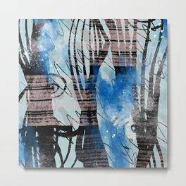Blue Watercolor Drawing with Black Pattern: Scribble Series 04 Metal Print