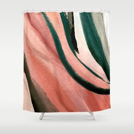 Spring in the City - a pretty mimimal watercolor abstract piece in pinks and greens Shower Curtain
