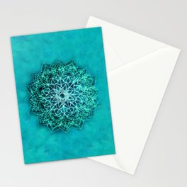 Elegant Turquoise Watercolor Mandala Stationery Cards