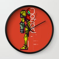 metroid Wall Clocks featuring Metroid by Slippytee Clothing