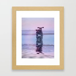 Where the Journey  begins Motorcycle at the Water Sunset Framed Art Print