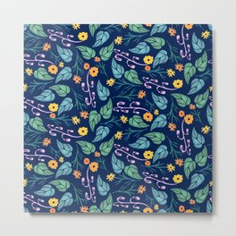 Watercolour dark blue seamless pattern background with whimsical flowers. Metal Print