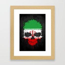 Flag of Iran on a Chaotic Splatter Skull Framed Art Print