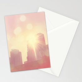 downtown Los Angeles skyline photograph. City of Lights Stationery Cards