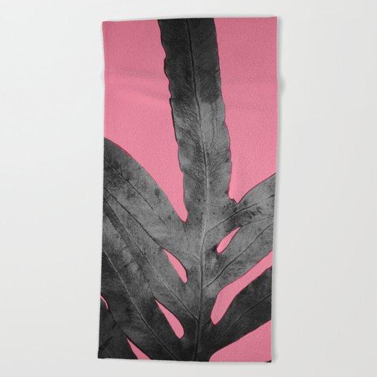 Green Fern on Pink - Black Shadow Beach Towel
