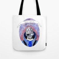 garrus Tote Bags featuring Mass Effect: Garrus by Sunol Golden