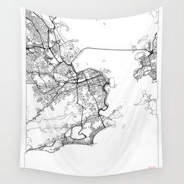 Rio de Janeiro Map White Wall Tapestry