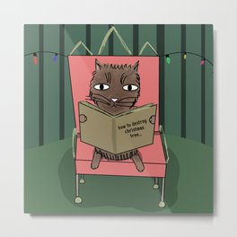 Funny christmas cat with book Metal Print
