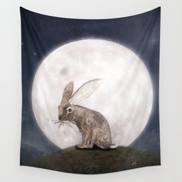 Night Rabbit Wall Tapestry