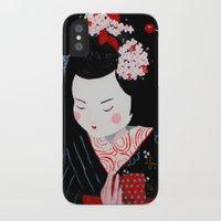 geisha iPhone & iPod Cases featuring Geisha by Maripili