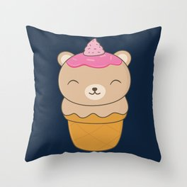Kawaii Bear Ice Cream Cone Throw Pillow