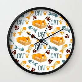 Cat on box, with fish sales, and paw prints Wall Clock