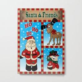 Santa and Friends Metal Print