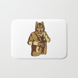 Sophisticated Wolf - having a drink Bath Mat