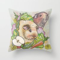 pigs Throw Pillows featuring Guinea Pigs by Raewyn Haughton