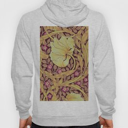 William Morris Yellow Orchids and Violets Textile Pattern Hoody