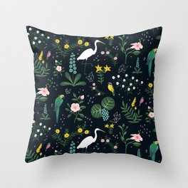 """""""Tropical Birds and Flowers"""" on Midnight Blue by Bex Morley Throw Pillow"""