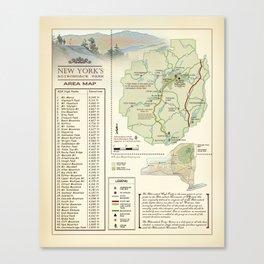 New York State Adirondack/High Peaks table [vintage inspired] Map print Canvas Print