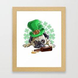 Drunk Pug St. patricks Day Framed Art Print