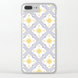 Mediterranean Tiles Blue and Yellow Clear iPhone Case