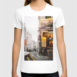 Dreamy Street in Montmartre, Paris with Parisian Cafe T-shirt