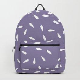 White Raindrops on Purple Background Backpack