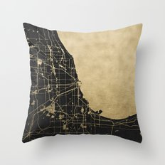 Chicago Black and Gold Street Map Throw Pillow