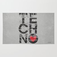 springsteen Area & Throw Rugs featuring I love Techno by Sitchko Igor