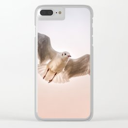 Seagull Floating Through Sunset Sky Clear iPhone Case