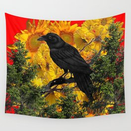 CROW & SUNFLOWERS WILDERNESS RED ART Wall Tapestry