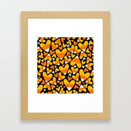 Halloween Candy Corn Hearts Framed Art Print