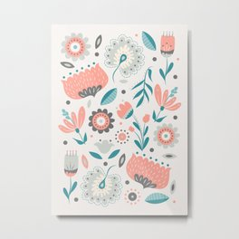 Folk Art Florals in Pink + Gray Metal Print