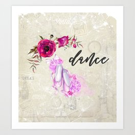 Dance with Ballet Shoes with a Floral Poppy Frame Art Print