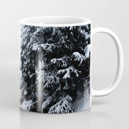 Snowy pond and trees disappearing in fog Coffee Mug