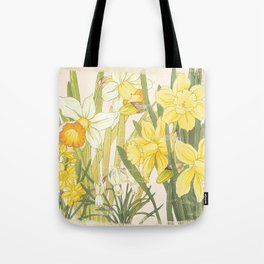 Vintage Floral Paper:  Spring Flowers on Shabby White -Daffodils Tote Bag