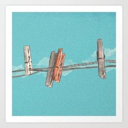 Boho Clothespin Art Print