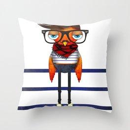Hipster Bird Throw Pillow