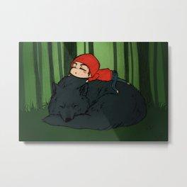 Sleepy Wolf Metal Print