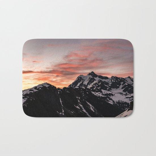 Pink Sky - Cascade Mountains Bath Mat
