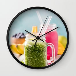 Close-up of green fresh smoothie with fruits, berries, oats and seeds, selective focus Wall Clock