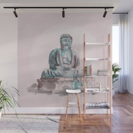 Peace and Harmony watercolor buddha pastel illustration Wall Mural