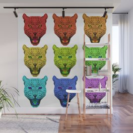 Rainbow Leopard Head Wall Mural