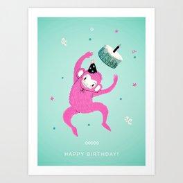 Happy Birthday Monkey Art Print